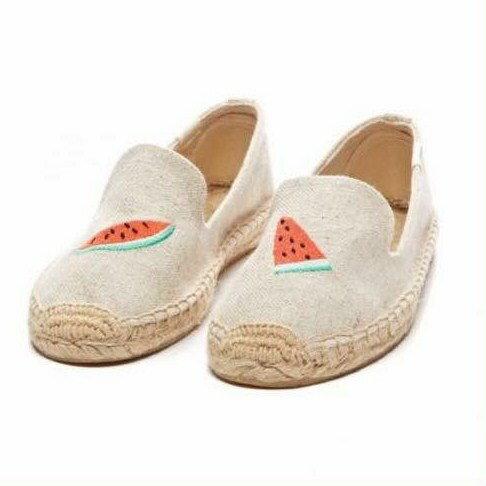 【Soludos】美國經典草編鞋-塗鴉系列草編鞋-米色西瓜