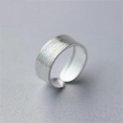 925純銀戒指開口戒~寬版磨砂拉絲 生日情人節 女飾品73dt40~ ~~米蘭 ~ ~
