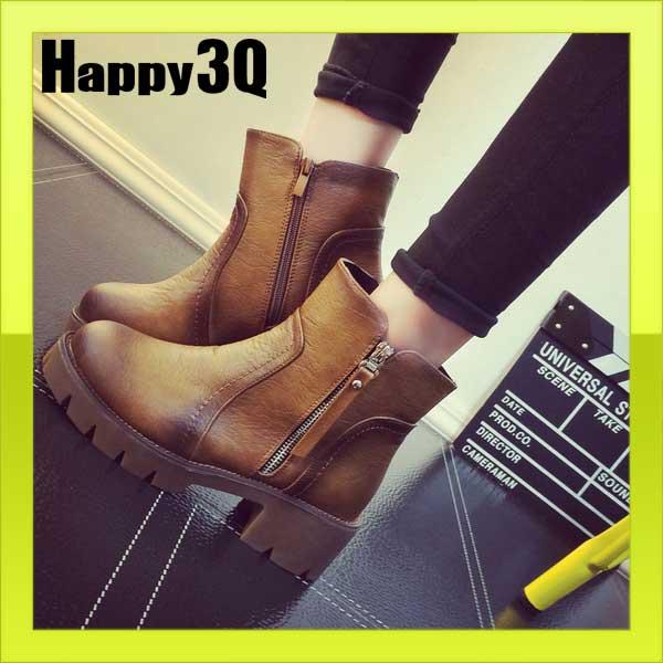英倫帥氣中性加絨中跟側拉鍊馬丁短靴踝靴子~黑 棕 灰35~39~AAA0826~