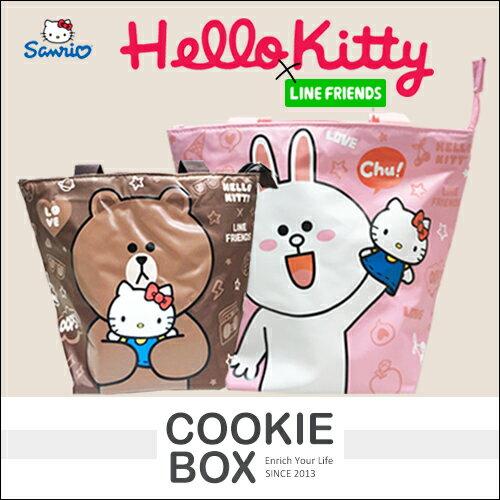 正版 三麗鷗 HELLO KITTY x LINE FRIEND 餃型 手提袋 便當袋 兔兔 熊大 莎莉 *餅乾盒子*