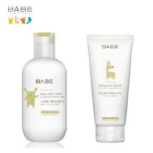 【呵護肌膚雙步驟組】西班牙【BABE】貝貝Lab.舒敏潤膚霜+潤膚液體皂 - 限時優惠好康折扣