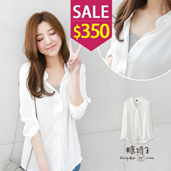 ~ 550下殺340~糖罐子反摺釦雪紡襯衫→ 白 ~E37069~ ~  好康折扣