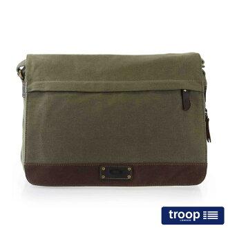 【TROOP】英倫風格OXFORD斜背包/TRP0352GN