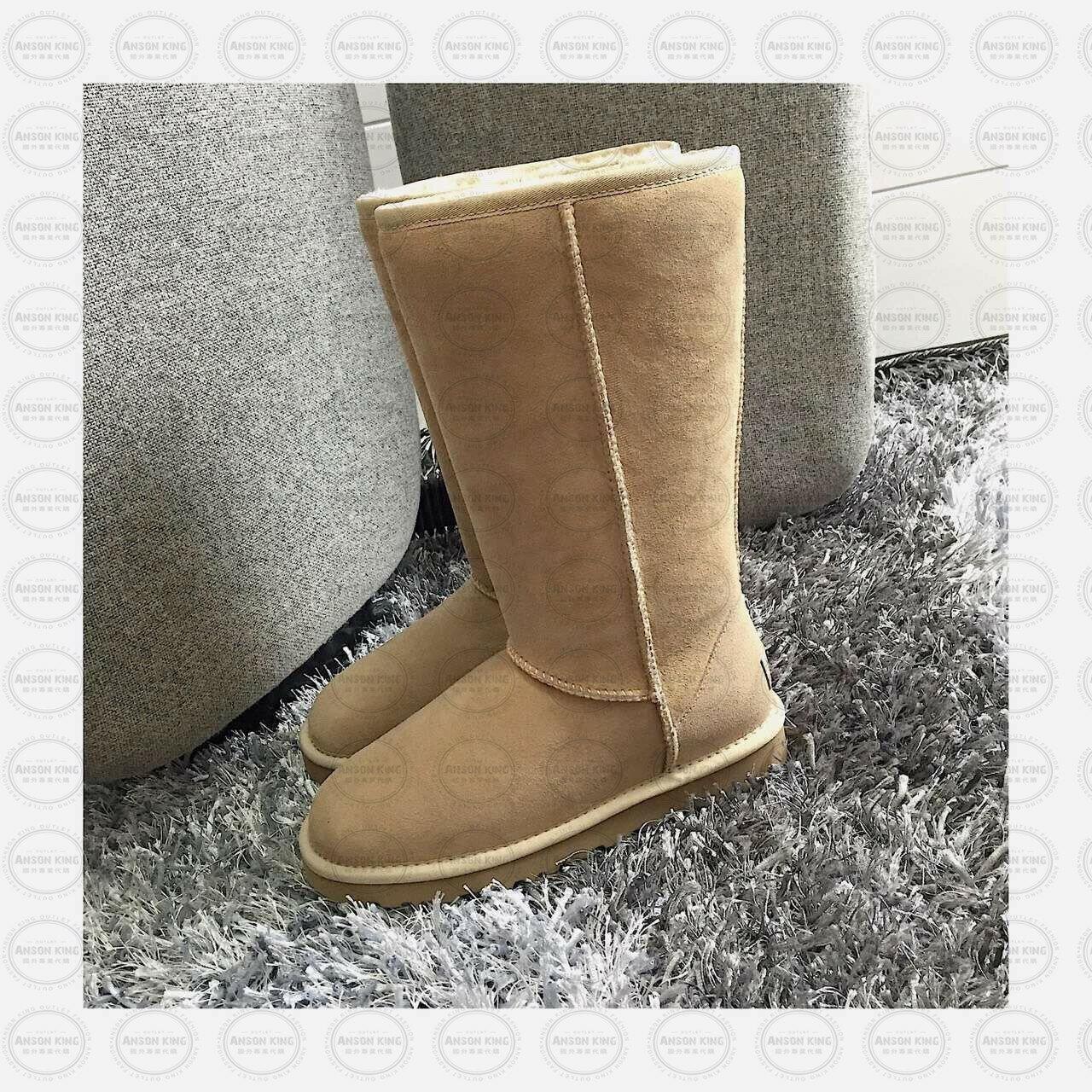 OUTLET正品代購 澳洲 UGG 經典女款羊皮毛一體雪靴 中長靴 保暖 真皮羊皮毛 雪靴 短靴 沙栗色 0
