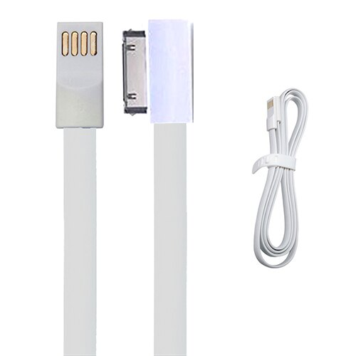 CABLE PLANO BLANCO 30 PIN - USB PARA IPHONE 3G/3S/4G/4S, IPAD, IPOD... PARA CARGA Y TRANSFERENCIA DE DATOS 0