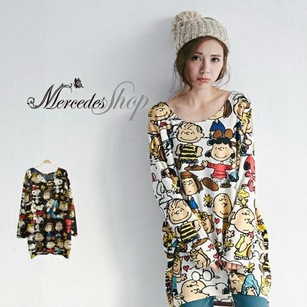 梅西蒂絲-韓國新款卡通史努比長袖T恤
