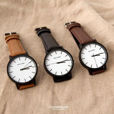 手錶 簡約刻度大框設計質感皮革手錶 無印個性風格 中性款式 柒彩年代【NE1847】單支價格 - 限時優惠好康折扣