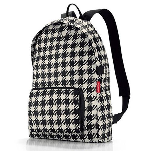 德國品牌-時尚可摺疊收納後背包-黑色千鳥紋 0
