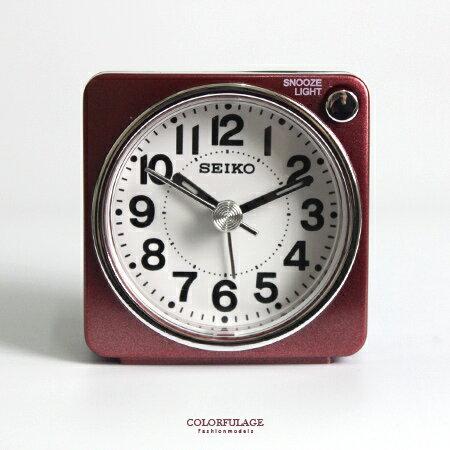 SEIKO精工鬧鐘 輕巧可愛暗紅色小鬧鐘 滑動式靜音秒針 燈光功能 柒彩年代【NV1713】原廠公司貨 0