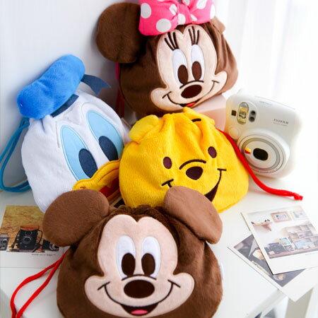 日貨 正版迪士尼束口袋 米奇 米尼 維尼 唐老鴨 收納袋 相機袋 拍立得 Mini 25 50s 90 SP-1 PD239【B088067】