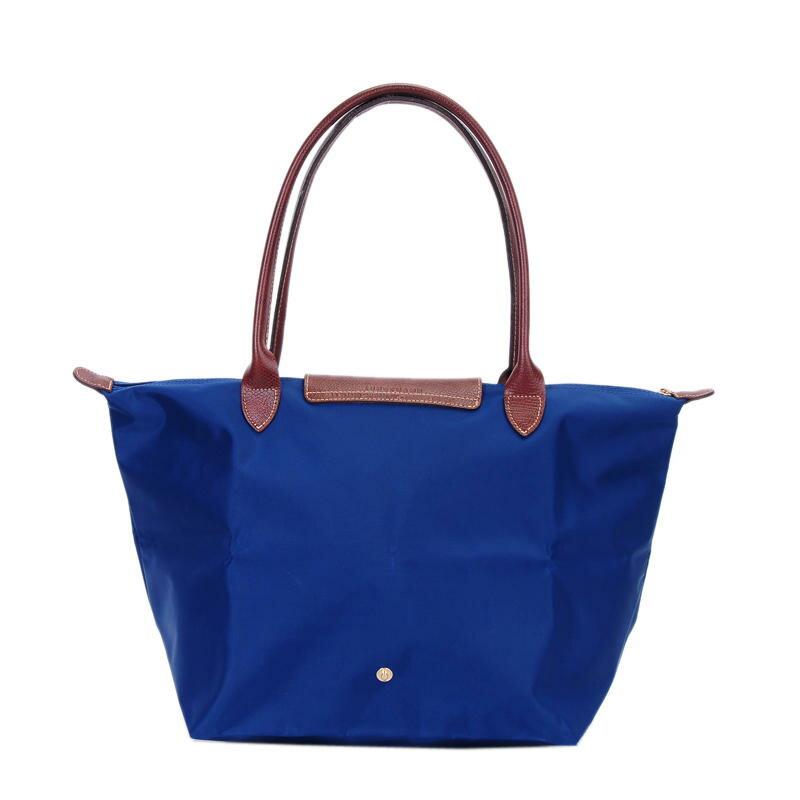 [1899-M號] 國外Outlet代購正品 法國巴黎 Longchamp 長柄 購物袋防水尼龍手提肩背水餃包 藍色 2