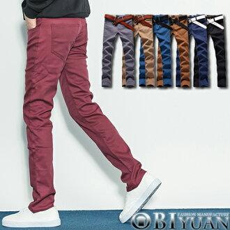 刷毛工作褲【F8823】OBI YUAN韓版百搭素面保暖搖粒絨內裏彈力休閒長褲共7色