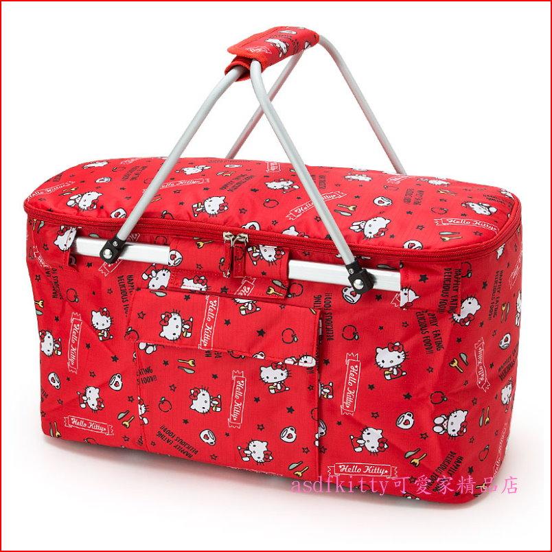 asdfkitty可愛家~KITTY 紅色雙提把 袋 野餐籃~比單提把平穩~大容量~車用固