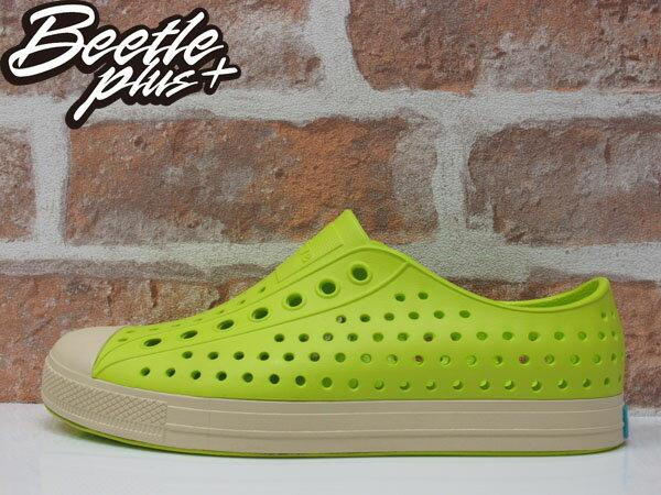 BEETLE 2015 NATIVE JEFFERSON 洞洞鞋 螢光綠 白綠 防水 休閒鞋 懶人鞋 陳冠希 奶油底 GLM01-358