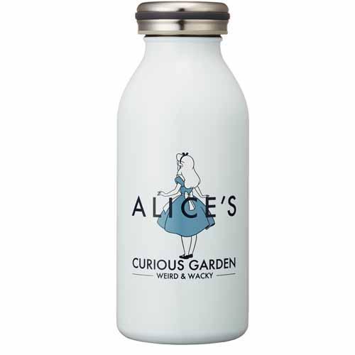日本 mosh! 迪士尼 愛麗絲 不鏽鋼牛奶瓶造型保溫瓶 保冷隨行杯 350ml*夏日微風*