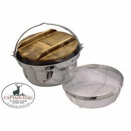 CAPTAIN STAG 日本鹿牌 湯鍋(附蓋、起麵網)  不鏽鋼鍋_M-8618