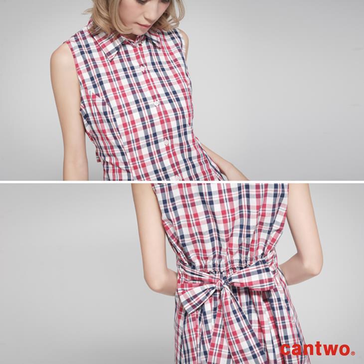 cantow襯衫領無袖洋裝(共三色) 6