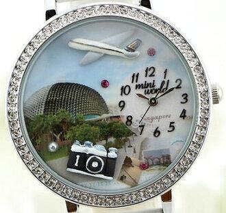 BHC137-韓國品牌MINI WORLD 手工卡通童話立體彩陶錶**去新加坡榴槤殼歌劇院旅行吧**【現貨】軟陶錶
