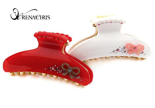 BHI1036-法國品牌RenaChris 施華洛世奇晶鑽可愛蝴蝶結鯊魚夾 抓夾【韓國製】