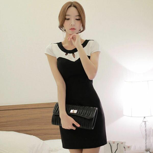 PS Mall 性感拼色鏤空包臀連身裙 無袖顯瘦連身洋裝~T233~ ~  好康折扣