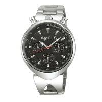 agnès b.到agnes b VD55-KS00D(BX9001X1)小惡魔時尚計時腕錶/黑面39mm