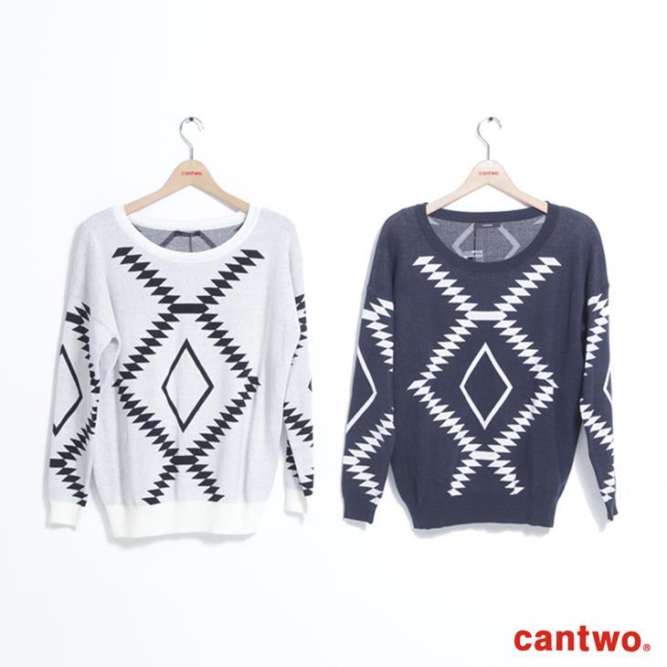 cantwo幾何民俗圖紋針織上衣(共三色) 5