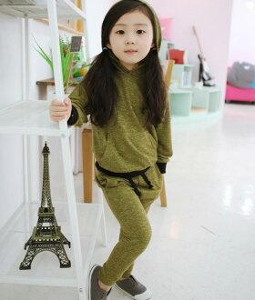 韓國秋冬童裝~正韓女童柔軟質感連帽潮流套裝 9號 現貨