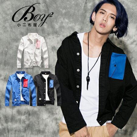 ☆BOY-2☆ 【NQ98066】潮流跳色前口袋單寧外套 0