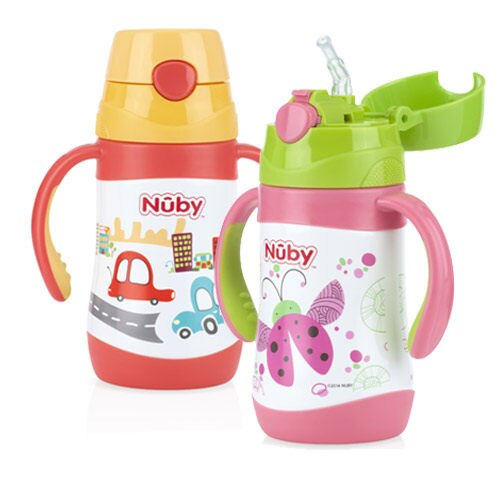 『121婦嬰用品』Nuby不鏽鋼真空學習杯-汽車(細吸管) 280ml 1