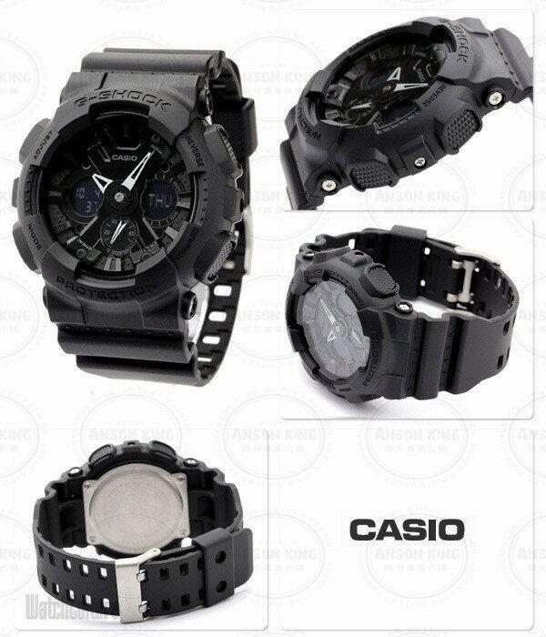 國外代購 CASIO G-SHOCK GA-120BB-1A機車儀表系列 三眼雙顯 防水手錶腕錶電子錶男女錶 霧黑 1