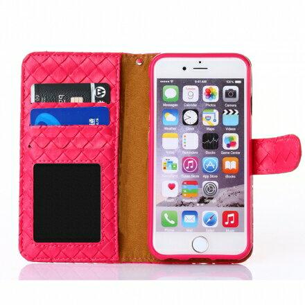 Apple iPhone 6 / 6s 時尚編織紋手機皮套 側掀磁扣支架式皮套 矽膠軟殼 多色可選 1