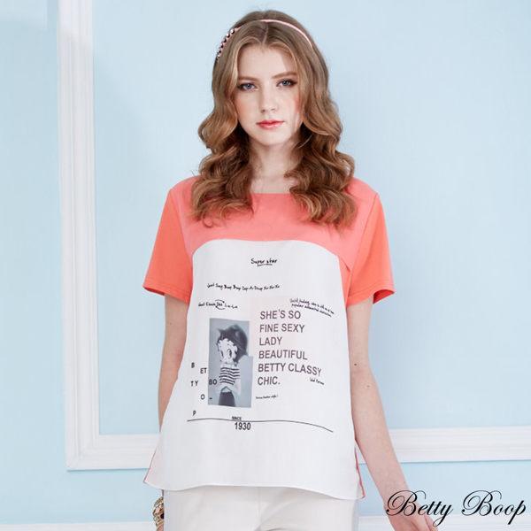 上衣 Betty Boop 雪紡大圖拼接彈性棉上衣 0