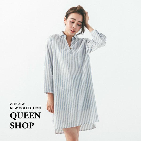 Queen Shop~01083070~直條紋半開襟襯衫洋裝 兩色售~  ~