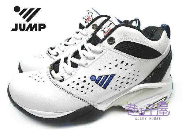 【巷子屋】JUMP將門 男款牛皮防臭高統籃球鞋 運動鞋 [6051] 白黑 超值價$690