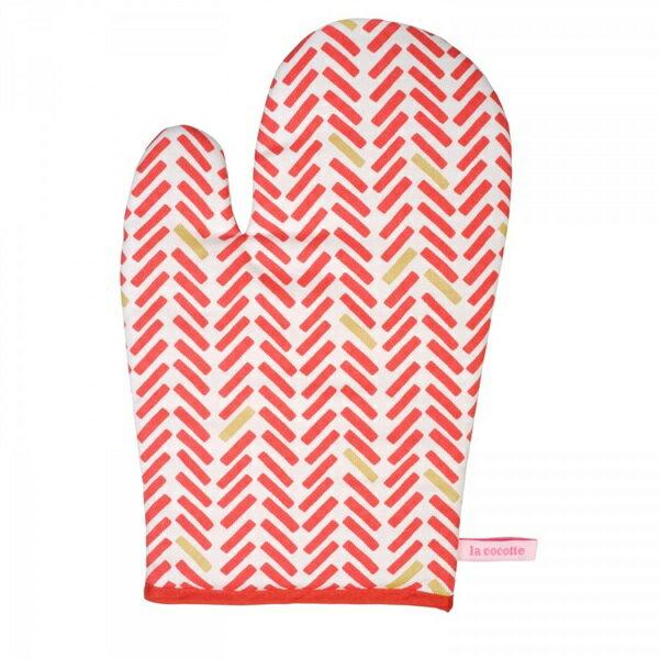 《法國 La Cocotte Paris》Red herringbone Oven glove 隔熱手套 0