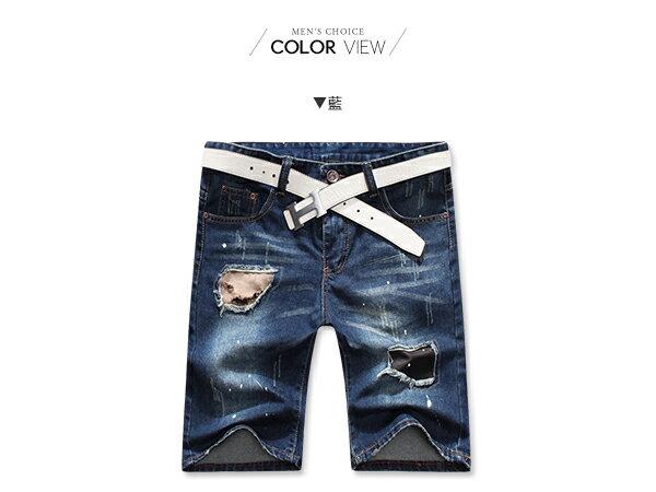 ☆BOY-2 ☆ 【NQ91002】潑漆破洞牛仔短褲 1