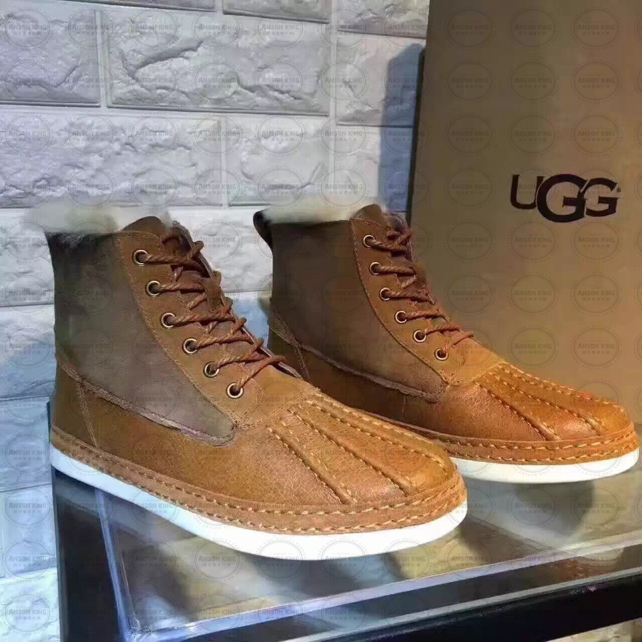 OUTLET正品代購 澳洲 UGG 冬季男款貝殼頭馬丁靴 短靴 保暖 真皮羊皮毛 雪靴 短靴 栗色 2