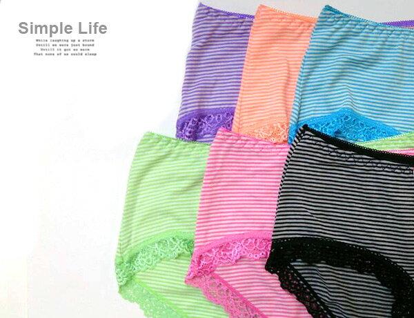 3件199免運【AJM】無痕蕾絲條紋低腰三角褲3件組(隨機色) 2