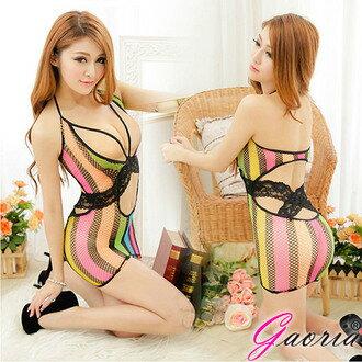 彩虹綻放 性感連身網衣短裙 F1-315