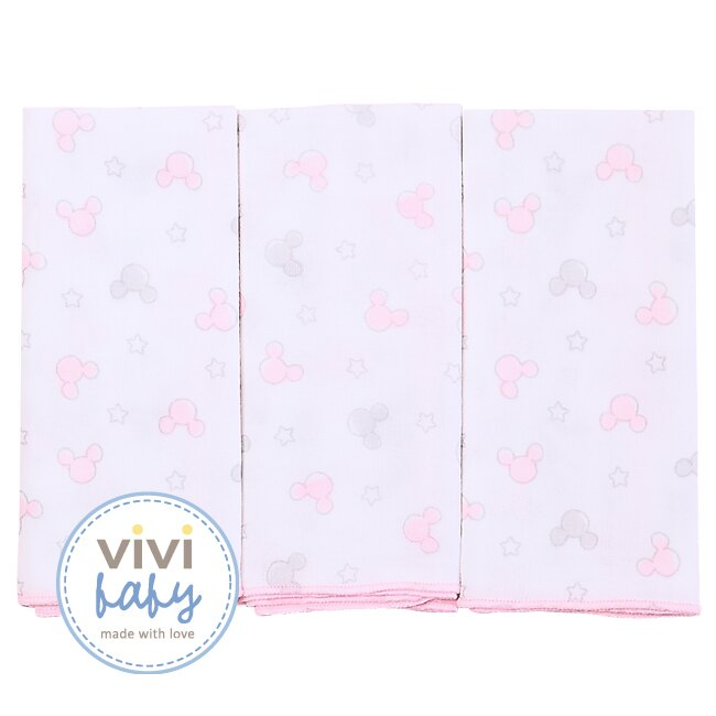 ViViBaby - Disney迪士尼超柔紗布手帕3入 (粉) 1