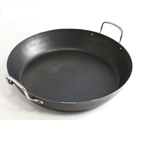 【Gusto古斯特】黑鐵無塗層商用雙耳平煎鍋-28cm