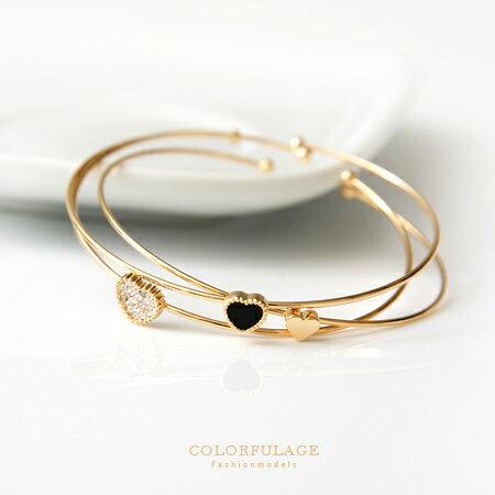 C型手環手鍊 可愛小巧愛心水鑽 混搭豐富感 玫瑰金 金色 共2色 柒彩年代~NA319~氣