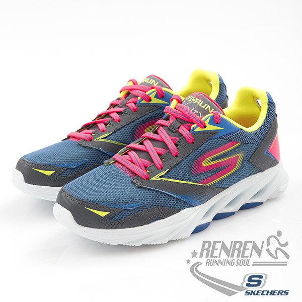 SKECHERS 女慢跑鞋GO Run Vortex (灰*紫) 跑步系列 瑜珈科技鞋墊  簡嫚書代言