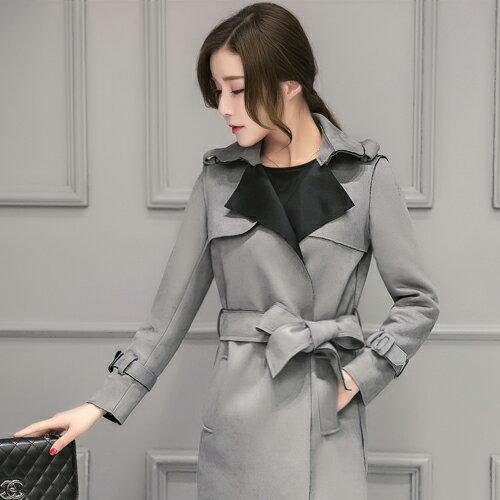 外套 - 雙色翻領絨皮中長款腰綁帶大衣【29155】藍色巴黎-現貨 + 預購 2