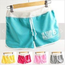 【捉遊趣】休閒運動 薄款 棉短褲 夏季女款 字母印花 糖果色三分褲爆款