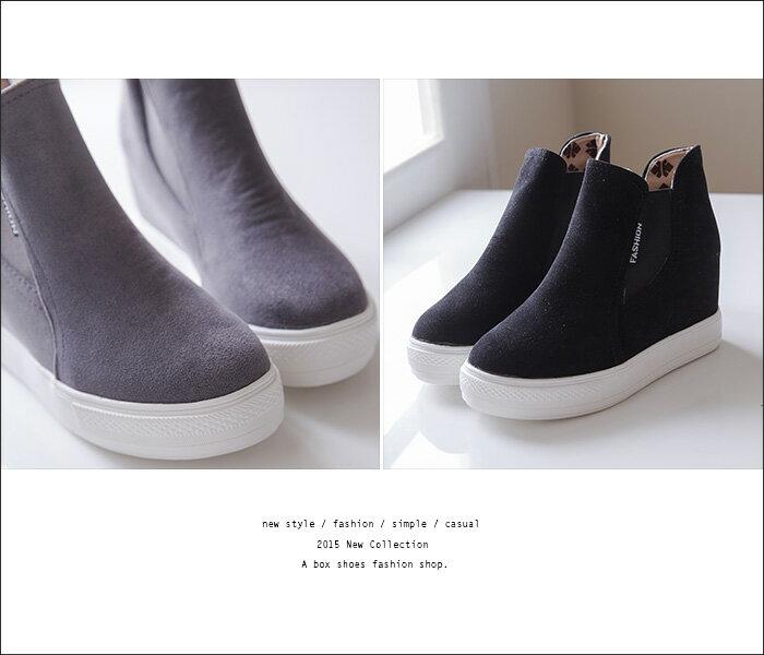 格子舖*【AS711】韓版街頭雜誌 摩登時尚質感麂皮 厚底內增高休閒高筒球鞋 帆布鞋 2色 2