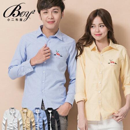 ☆BOY-2☆【NQ97005】韓版襯衫 麋鹿電繡長袖襯衫 0