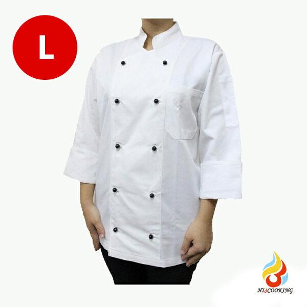 【愛上烹調】黑色雙排扣專業廚師工作服(L)