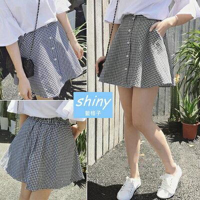 【V1115】shiny藍格子-活力輕甜.經典格紋鬆緊腰A字短裙