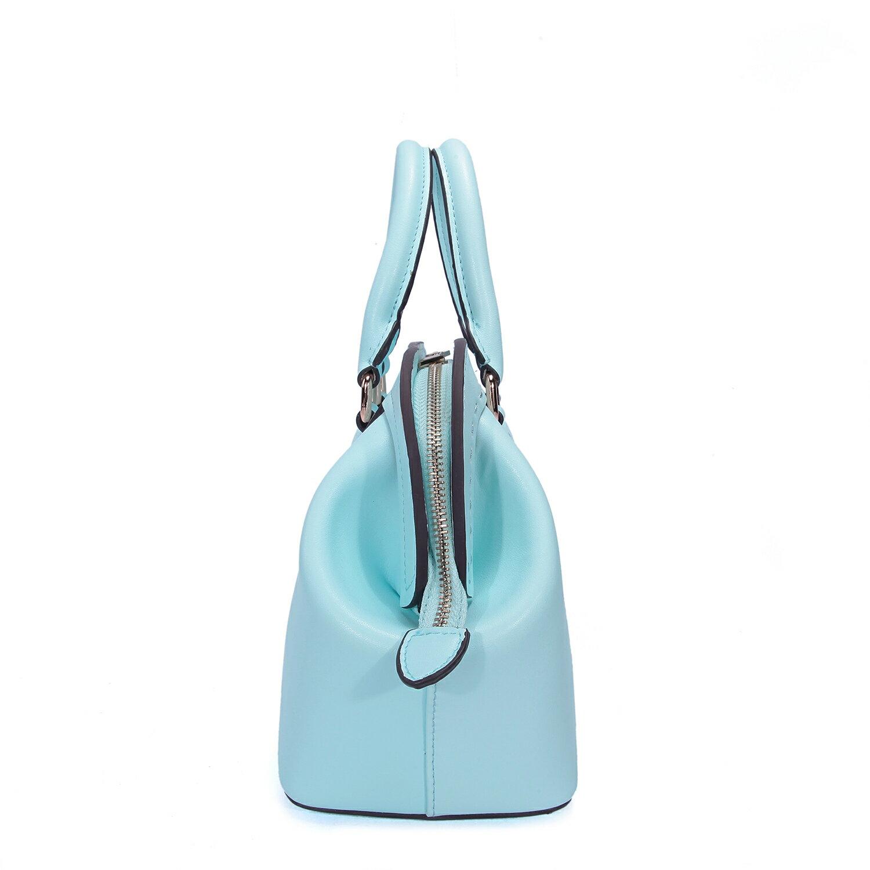 【BEIBAOBAO】繽紛馬卡龍真皮手提側背包(粉霧藍 共六色) 4